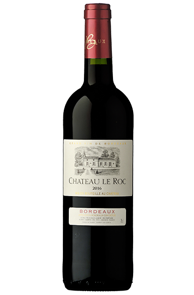 Red Wine Bottle of Chateau Le Roc Bordeaux from France