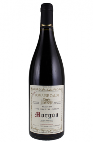 Red Wine Bottle of Domaine Calot Morgon from France