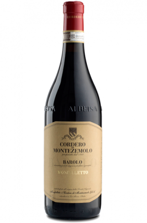 Red Wine Bottle of Cordero di Montezemolo Monfalleto Barolo from Italy
