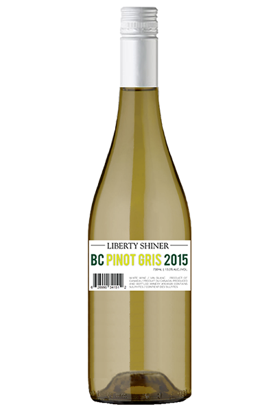 White Wine Bottle of Liberty Pinot Gris Shiner from British Columbia