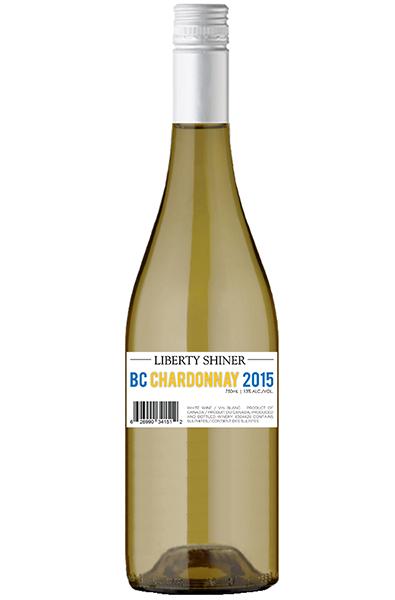 White Wine Bottle of Liberty Chardonnay Shiner from British Columbia