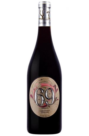 Red Wine Bottle of Coquard 69 Beaujolais from France
