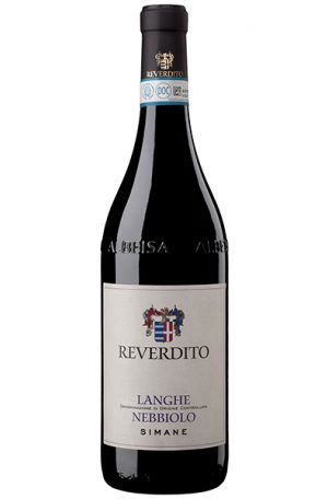 Red Wine Bottle Reverdito Langhe Nebbiolo Simane from Italy