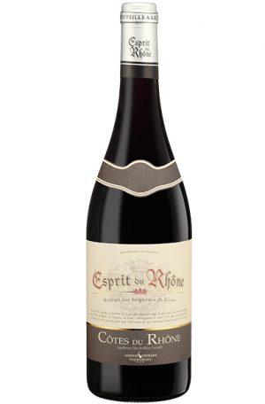 Red Wine Bottle of Laudun Chusclan Esprit du Rhone Cotes du Rhone from France