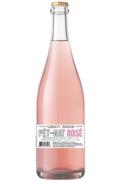 Sparkling Rose Wine Bottle of Liberty Pet-Nat Rose Shiner from British Columbia