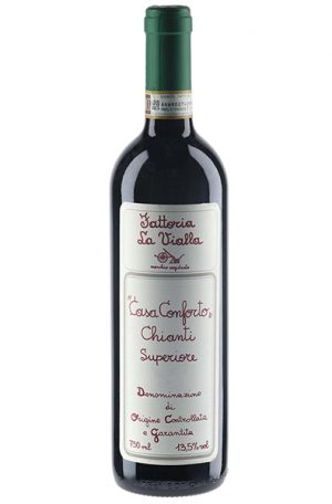 Red Wine Bottle of Fattoria La Vialla Casa Conforto Chianti Superiore from Italy