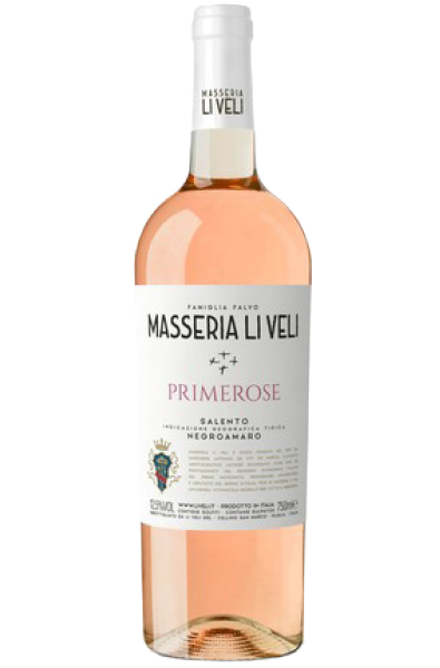 Rose Wine Bottle of Masseria Li Veli Primerose Salento Negroamaro from Italy